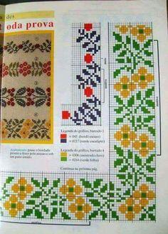 Cross Stitch Borders, Cross Stitch Flowers, Cross Stitching, Cross Stitch Embroidery, Cross Stitch Patterns, Hand Knitting, Knitting Patterns, Graph Design, Crochet Tablecloth