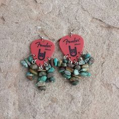 Fender hang loose  guitar pick earrings with turquoise
