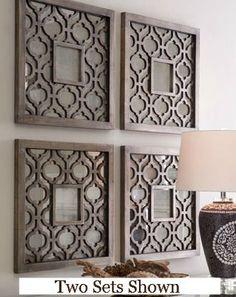 Amazon.com - Silver SQUARE FRETWORK Wood Mirror Wall Art PAIR ...
