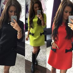Fashion Women Ladies Round Neck Casual Bowknot Party Cocktail Evening Mini Dress