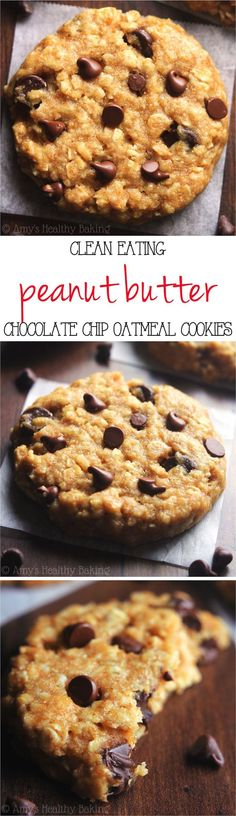 Clean-Eating Chocolate Chip Peanut Butter Oatmeal Cookies -- these skinny cookie., Desserts, Clean-Eating Chocolate Chip Peanut Butter Oatmeal Cookies -- these skinny cookies don& taste healthy at all! You& never need another oatmea. Healthy Baking, Healthy Desserts, Just Desserts, Dessert Recipes, Healthy Cookies, Eating Healthy, Healthy Food, Healthy Recipes, Healthy Breakfasts