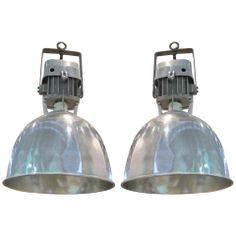1940's Belgian pair aluminum factory lights www.balsamoantiques.com