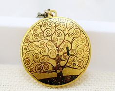 Locket,Jewelry Gift Pendant, Locket,Picture Locket-Gustav Klimt  Tree of Life Image Photo Image Round Brass Locket