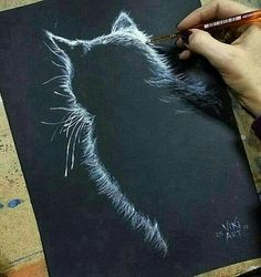Would be neat done in stitched… - Painting Techniques Drawn Art, Art Graphique, Chalkboard Art, Painting Techniques, Art Tutorials, Drawing Tutorials, Cat Art, Painting Inspiration, Amazing Art