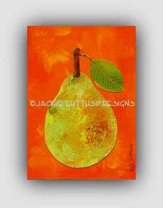 "Pear art, 5 x 7"" Archival print, Kitchen art, Print of pear painting, Dining room art. Fruit collage, Green and orange kitchen, Acrylic art"