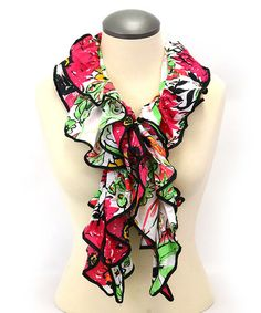Love this Fuchsia & Green Floral Ruffle Scarf on #zulily! #zulilyfinds