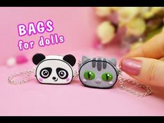 tutorial: mini panda and kitty bags Barbie Dolls Diy, Doll Clothes Barbie, Diy Crafts For Girls, Diy Crafts To Do, Diy Barbie Furniture, Diy Doll Miniatures, Mini Craft, Miniature Crafts, Barbie Accessories