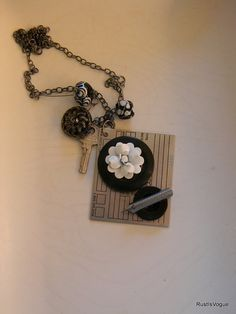 Penned Flowers are the Key Assemblage Necklace by RustIsVogue, $50.00