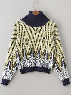 Yellow Graphic Pattern Turtleneck Mohair Sweater -SheIn(abaday)