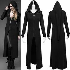 Alternative Black Hooded Gothic Witch Long Jacket Trench Coat Clothing SKU-11401481