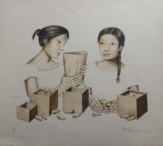 Anita Magsaysay-Ho Peanut Vendor 1994 Lithograph | Luxify | Luxury Within Reach #modern #contemporary #art #painting Modern Contemporary, Art Pieces, Sculptures, Fine Art, Luxury, Drawings, Artist, Painting, Beautiful