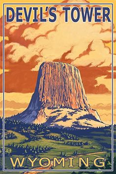 Devil's Tower, Wyoming (12x18 Art Print, Wall Decor Travel Poster)