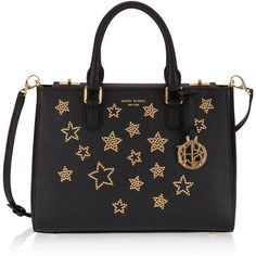 Henri Bendel West 57th Star Studded Small Turnlock Satchel (€230) ❤ liked on Polyvore featuring bags, handbags, black, studded purse, hand bags, handbag purse, handbag satchel and henri bendel