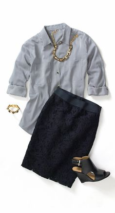Ann Taylor striped crepe button down blouse, lace pencil skirt and Maura leather peeptoe wedges