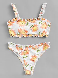 SheIn offers Frill Trim Floral Bikini Set   more to fit your fashionable  needs. 4b8c6685c2