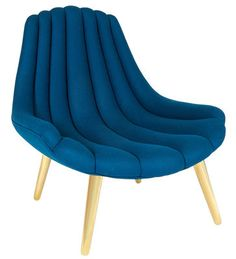 Brigitte Padded armchair Blue / Gold by Jonathan Adler