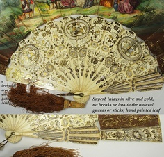 Superb HP Antique French Fan, Gold Silver Inlay Carved Ivory - from antiques-uncommon-treasure on Ruby Lane