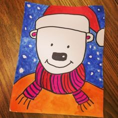 Santa Bear in Tempera Paint (Art Projects for Kids) Christmas Art Projects, Projects For Kids, Christmas Ideas, Christmas Crafts, Drawing Lessons For Kids, Art Lessons, Kindergarten Drawing, Art Haus, 4th Grade Art