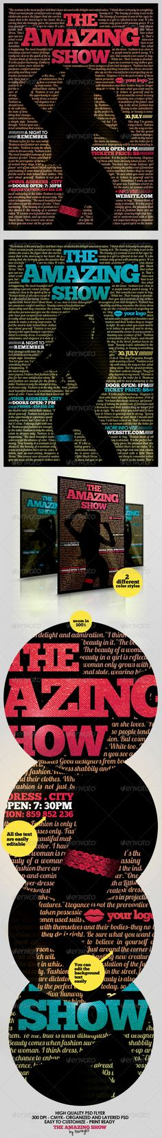 The Amazing Show Flyer Template - $6. ***This flyer is perfect for the promotion of Musicals, Club Parties, Concerts, Festivals, Shows, Events or Whatever You Want!.***