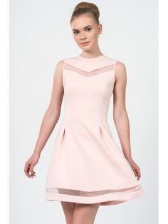 Tül pencereli dalgıç pudra Elbise