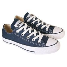 Converse Navy All Star Ox Womens Low Top Trainers (UK 7) ❤ liked on Polyvore featuring shoes, sneakers, navy trainers, star sneakers, star shoes, converse trainers and navy shoes