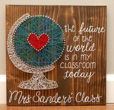Teachers string art, teacher appreciation, christmas gift, end of the school year gift, light brown stain, multicolor string, teachers