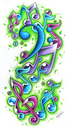 ideas for music tattoo designs inspiration deviantart Graffiti Drawing, Graffiti Lettering, Graffiti Art, Music Drawings, Music Artwork, Music Tattoo Designs, Music Tattoos, Music Notes Art, Aquarell Tattoos