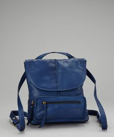 Take a look at this Blue Leather Convertible Crossbody/Backpack by Nino Bossi Handbags on #zulily today!