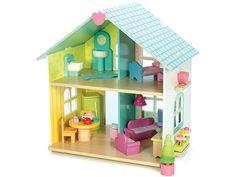 Le Toy Van Puppenhaus aus Holz mit offener Front. Das Puppenhaus wird mit Möbelstücken geliefert. Puppen haben wir ebenfalls in unserem Le Toy Van Shop.