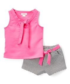 Take a look at this Fuchsia Tie-Neck Top & Chevron Shorts - Toddler & Girls today!