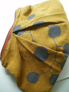 Eucalyptus Clutch, Hand Printed Linen, Zipper Pouch, Moontea artwork