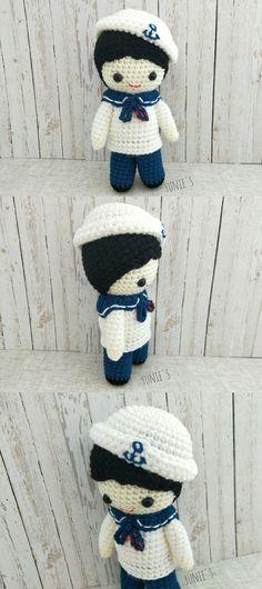 Crochet pattern Doll : Nautical Sailor Boy Doll Amigurumi Crochet Pattern ,Baby sailor, Little sailor