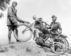 Motorcycling pioneers Adeline and Augusta Van Buren Sisters.  Bought pair of Indian Powerplus Bikes. They were the first people ever to climb up and down Pike's Peak. They, too, completed a transcontinental ride. Their 3,300-mile trip took almost two months, and they had to contend not only with many unpaved roads, but also with social mores. Once they were arrested for publicly wearing trousers