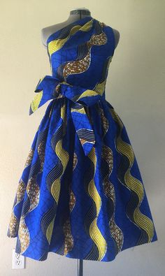 Make a Statement African Wax Print One Shoulder Dress 100% Cotton With Side Zipper and Removable Tie Sash Royal Blue Yellow Brown Wavy Print