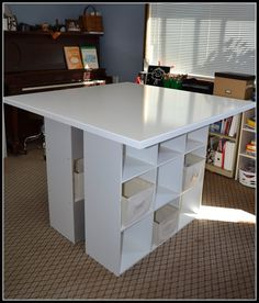 one rustic daisy: DIY Craft Table   Half of this would be great against a wall for a Cricut or computer station, especially with the storage areas under it. And then a bar stool to sit on while you are working. Like this idea!