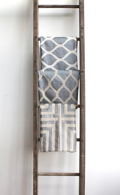 Aya metallic silver & natural ecru handprinted organic hemp pillow cover 20x20 by melongings studio via Etsy.