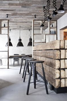 Restaurant Höst by Norm Architects. Restaurant Höst is a minimalist restaurant interior created by Denmark-based designers Norm Architects & Menu. Restaurant Design, Deco Restaurant, Design Hotel, Rustic Restaurant, Vintage Restaurant, Restaurant Interiors, Restaurant Furniture, Design Interiors, Modern Interiors