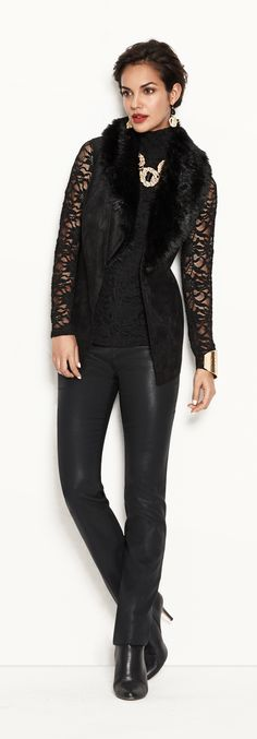 Lace Turtleneck. Wear it later, with texture-rich leggings and vest.