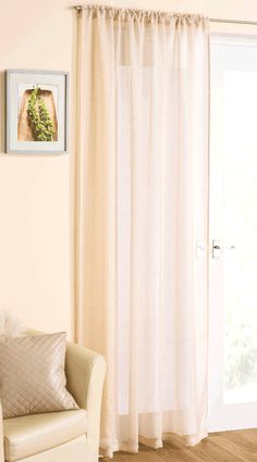 Elegant Pale Gold Linen Look Voile Curtain Panel with delicate silver sparkle threading. Slotted Top to hang on thin pole, net rod or curtain wire. Voile Panels, Voile Curtains, Curtain Wire, Curtain Rods, Contemporary Style, Modern, Sparkles Glitter, Casablanca, Home And Garden