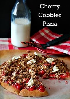 Cherry Cobbler Dessert Pizza Recipe!  For all of your pizza cravings visit Stosh's Pizza in Center Line, MI!  Give us a call at (586) 757-6836 to place your order or visit our website www.stoshspizza.com for more information!