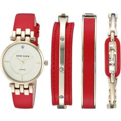 Anne Klein AK-2684RDST (Red/Gold-tone) Watches ($150) ❤ liked on Polyvore featuring jewelry, watches, goldtone jewelry, quartz movement watches, red jewelry, anne klein watches and red wrist watch