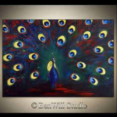ORIGINAL Peacock Art LARGE Abstract COLORFUL Blue Red by benwill