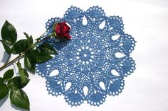Crochet lace doily 13 inches Blue doily Round doily Crochet doily Blue table topper Centre piece Round lace doily 13 inches diameter - pinned by pin4etsy.com