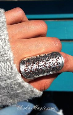 filigree ring, long large sterling silver rings for women, boho rings, bohemian . Boho Rings, Boho Jewelry, Jewelry Rings, Statement Jewelry, Hippie Rings, Jewelry Quotes, Jewelry Ideas, Jewelry Accessories, Unique Silver Rings