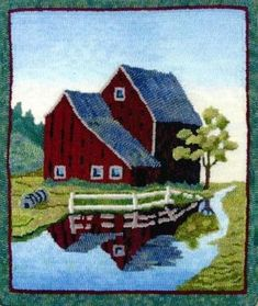 Honey Bee Hive rug hooking pattern from our CHARCO line. Vermont Barn, Designed by Pearl McGown & Jane McGown Flynn Honey Bee Hives, Punch Needle Patterns, Latch Hook Rugs, Rug Inspiration, Rug Hooking Patterns, Hand Hooked Rugs, Landscape Quilts, Penny Rugs, Traditional Rugs