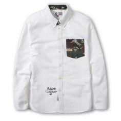 AAPE BAPE Camo Pocket Oxford Button Up Shirt (White) #bape #aape #streetwear #streetfashion #fashion #urbanwear #longsleeves #buttonupshirt