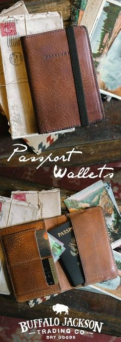 Men's leather passport travel wallet. Beyond your basic passport cover in all the right ways. Rugged, durable, well-made. For adventure or business travel. Great gift for him!
