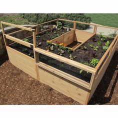 wayfair raised garden bed made by Outdoor Living Today (outdoorlivingtoday.com) Pre-assembled western red cedar raised garden bed panels with wire mesh 2 Folding trellis panels increase the height of 2 sections and can be mounted in rear or on the sides Keeps out unwanted garden and yard pests Floor not necessary with this kit Western red cedar construction Sturdy and easy to assemble Hardware with screws, latch and hinges included