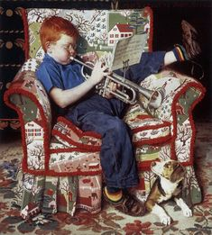 A boy, his trumpet, and his four-legged audience.. (Love this.) #music