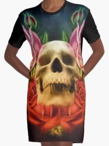 Skull And Rose's  Graphic T-Shirt Dress
